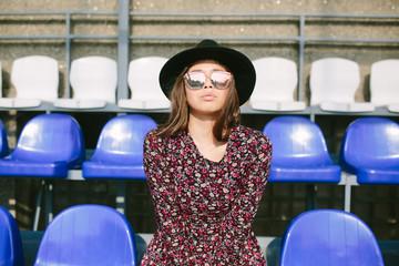 Girl in dress posing