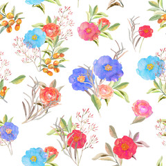 Vector illustration of floral seamless. Hand drawn beautiful col