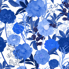 Vector illustration of floral seamless. Hand drawn beautiful blu