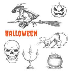 Halloween decoration symbols in pencil sketch