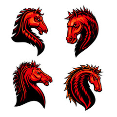 Flaming horse, mustang, bronco or racehorse mascot