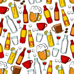 Seamless drinks and beverages pattern background