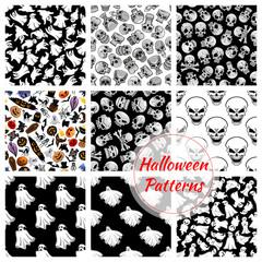 Halloween seamless decoration patterns set