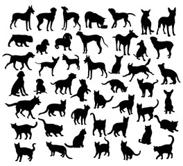 Pet Animal, Dog and Cat Silhouettes, art vector design