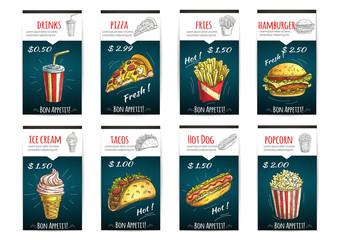 Fototapeta Fast food menu price posters with description obraz