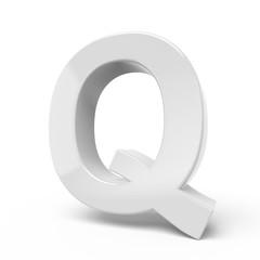 3D rendering white letter Q