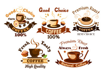 Coffee icons. Cafe signboards elements