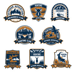 Hunting club icons. Outdoor adventure emblems