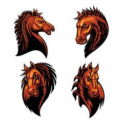 Furious horse head heraldic icons set