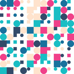 Seamless Geometric Bright Colors Pattern. Repetitive Texture. Modern Ornament with Circles and Squares. Abstract Vector Background. Ready Swatch Included in File
