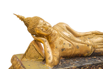 Reclining Golden Buddha isolated on white