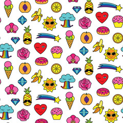 Fashion Patches Seamless Pattern