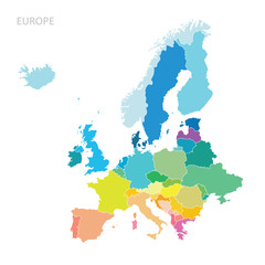 Map of Europe continent - fototapety na wymiar