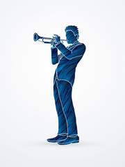 Trumpeter playing trumpet designed using blue grunge brush graphic vector.