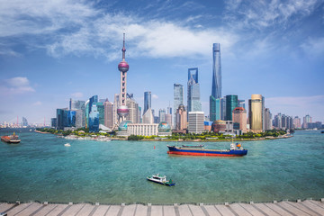 Wall Mural - Shanghai skyline with modern urban skyscrapers