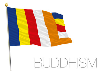 buddhist flag in the wind