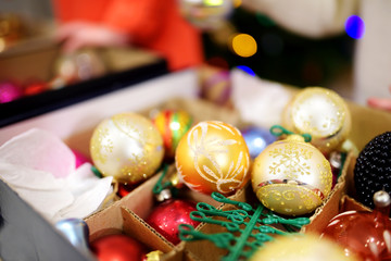 Colorful Christmas decorations in a boxes