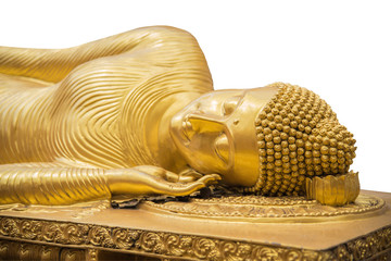 Reclining (sleeping) Golden Big Buddha statue isolated on white