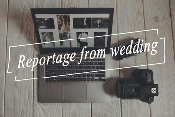 Reportage from wedding on laptop with cameras top view. Laptop with reportage from wedding and digital and film cameras on light wooden background.