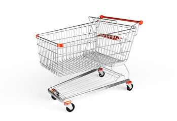 Shopping trollej isolated on the white background.