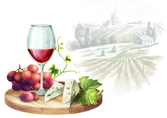Red wine, grapes, cheese and landscape