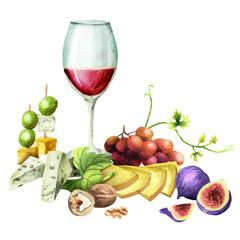 Snacks for wine. Watercolor