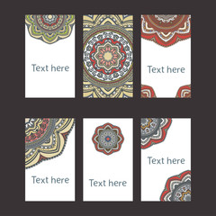 Business cards with hand drawn mandala design. Vector template, tribal theme.