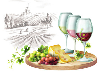 Colors of wine and landscape waretcolor