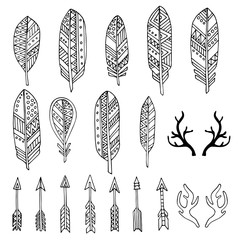 Hand drawn set with doodle antlers, feathers, arrows.