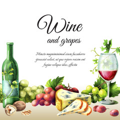 Wine, grapes and cheese background. Watercolor template