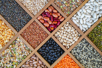 Collection assorted of lentils, beans, peas, grain, groats, soyb