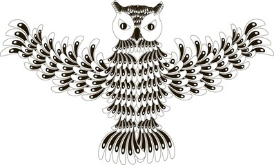 Stylized black and white flying owl, hand drawn, vector illustration