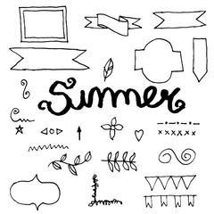 Doodle summer banner.illustration vector