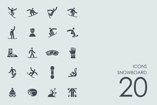 Set of snowboard icons