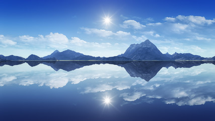 mountains reflecting in the clear water