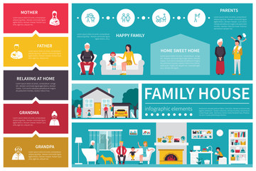 Family House infographic flat vector illustration. Presentation Concept