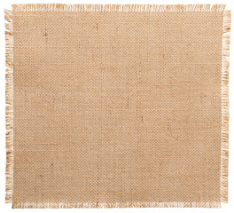 Burlap Fabric Torn Edges, Sack Cloth Pattern White Isolated