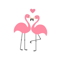 Pink flamingo couple and heart. Exotic tropical bird. Zoo animal collection. Cute cartoon character. Love greeting card. Flat design. White background Isolated