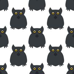 Owl. Seamless pattern. Halloween. All Saints' Day. Frighten. Night-bird. For your design