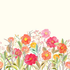 Vector seamless floral border. Isolated roses and wild flowers d