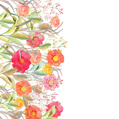 Vector floral border. Isolated roses and wild flowers drawn wate