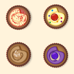 Set cup cake top view vector illustration