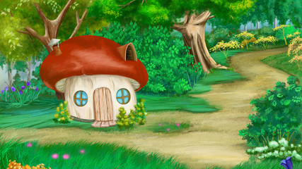 Fairy Tale Mushroom House in a Summer Forest