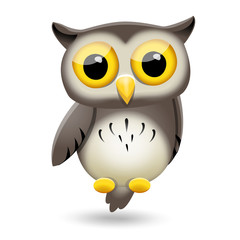 Cute fun cartoon owl character on white background. Vector illus