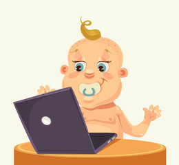 Baby character play laptop. Vector flat cartoon illustration