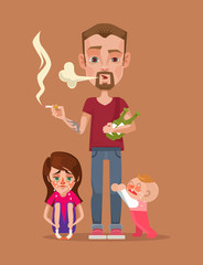Bad drunk smoking father with children characters. Vector flat illustration