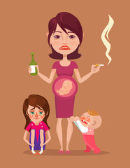 Bad pregnant drunk smoking mother with children characters. Vector flat illustration