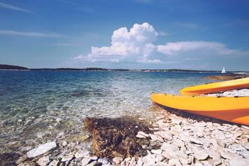 canoe kayak on the sea shore