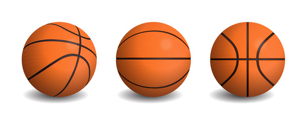 Vector realistic basketball balls in different views.