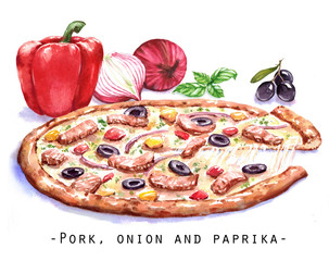 Hand-drawn watercolor illustration of the pizza with the meat, sweet pepper, onion and black olives. Drawing of the fast Italian food isolated on the white background.